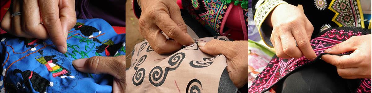 モン族伝統の刺繍やアップリケの手しごと