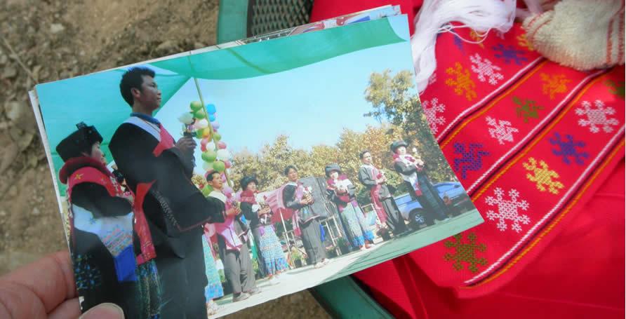 ミエン族の結婚式で使うピンクの肩掛けの刺繍_織り人Orijin