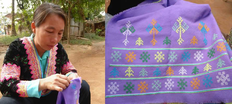 モン族の人が刺すミエン族の刺繍文様_織り人Orijin