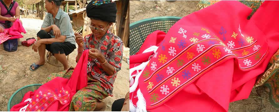 肩掛けの刺繍をするミエン族の女性_織り人Orijin