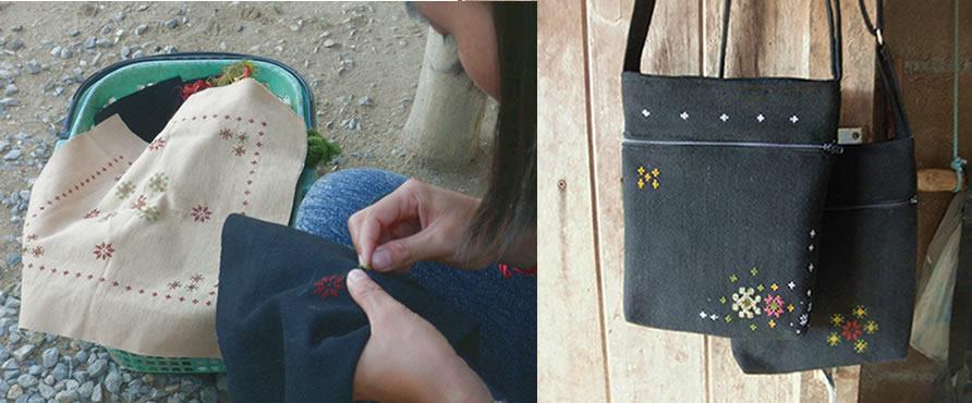 ミエン族の文様を刺繍するモン族女性_織り人Orijin